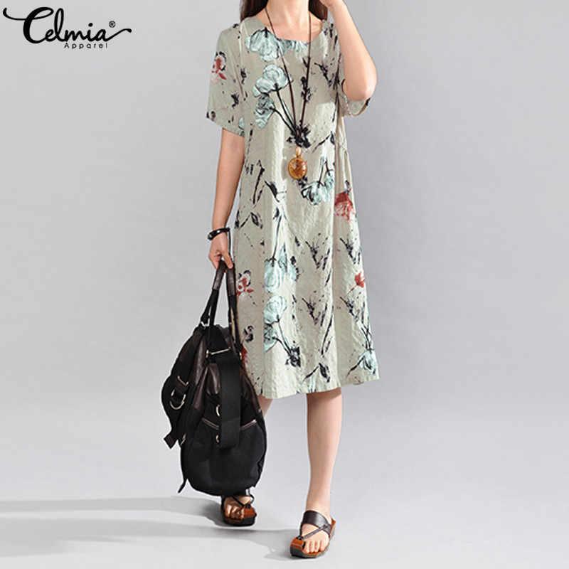 Celmia vestido de verão do vintage manga curta feminina elegante floral impressão midi sundress solto casual festa praia vestidos boêmio 5xl