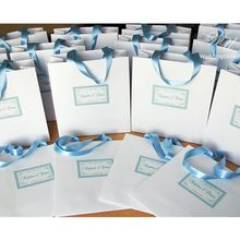 Personalized Paper Bag with satin ribbon and tag White and Light Blue Wedding or Baptism Welcome Bags Weddings Gift Favors(China)