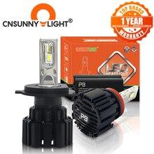 Cnsunnylight farol para carro, farol de led super brilhante h7 h11/h8 9005/hb3 9006/hb4 9012 d1/d2/d3/d4 h4 h13 45w 6800lm/lâmpada 6000k branco puro