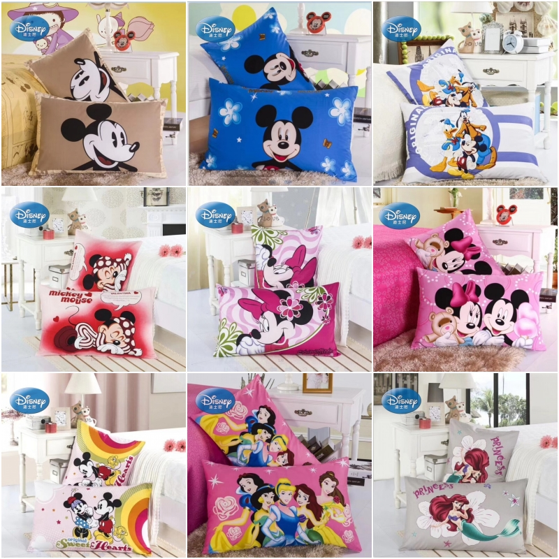 Discounts! Disney 100% Cotton Pillowcases 2Pcs Cartoon Mickey Minnie Princess Couple Pillow Cover Decorative PillowsCase 48x74cm