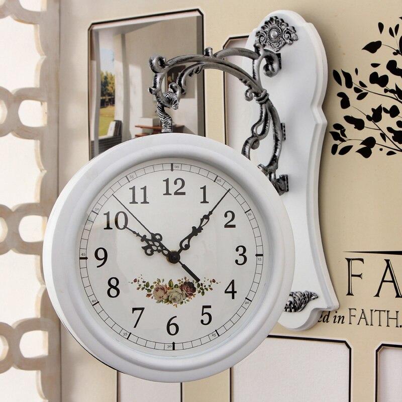 Double Wall Clock Living Room Fashion Mute European Wall Clock Creative Double Wall Clock Quartz Clock Wall Clocks     - title=