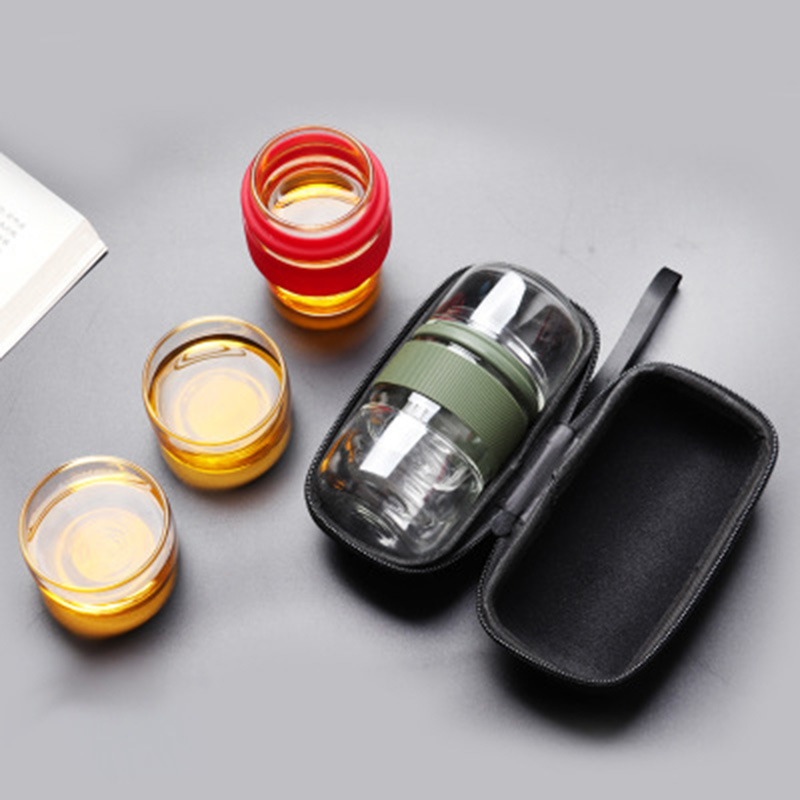 Travel Tea Set Kung Fu Tea Pot With Portable Case Glass Teacups With Infuser For Travel Home  QJS Shop