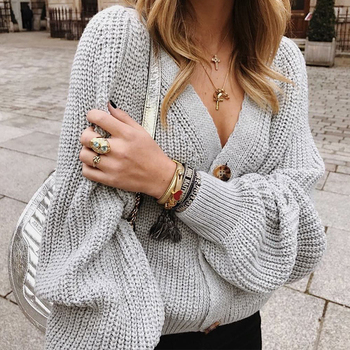 Zoki Women Knitted Cardigans Sweater Fashion Autumn Long Sleeve Loose Coat Casual Button Thick V Neck Solid Female Tops 2021 4