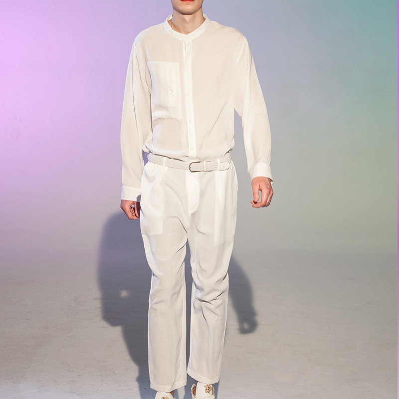 Spring And Autumn Fashion Show Loose Style Men's Jumpsuit Wide Leg Jumpsuit Onesie Hairdresser Trousers Jacket