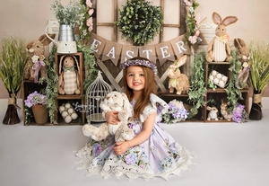 Image 2 - Mocsick Spring Easter Garden Photography Backdrops Bunny Flowers Decorations Children Photo Booth Background For Photo Studio