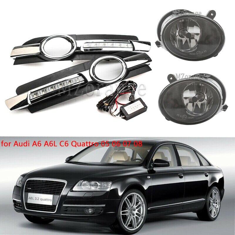 LED Daytime Running Fog Light Lamp Grills DRL For Audi A6 A6L C6 Quattro 2005 2006 2007 2008 Fog Light Cover Frame