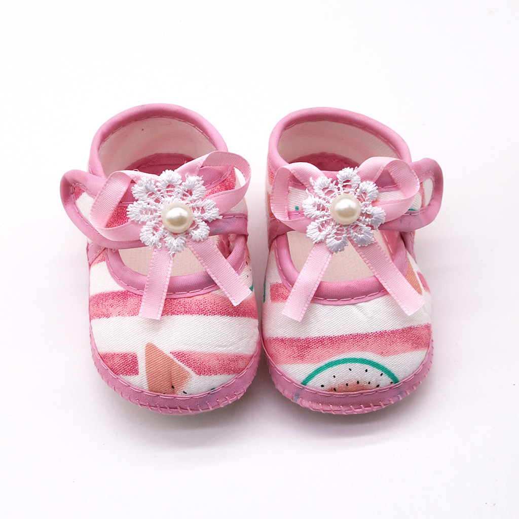 Crib Shoes Newborn Baby-Girls Cotton Flats Spring Soft-Soled Bow-Knot Kids Summer Children