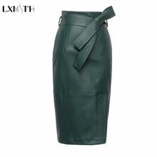 3XL 4XL PU falda de cuero de las mujeres de talla grande Otoño Invierno Sexy alta cintura Faux faldas de cuero con cinturón falda de lápiz de moda