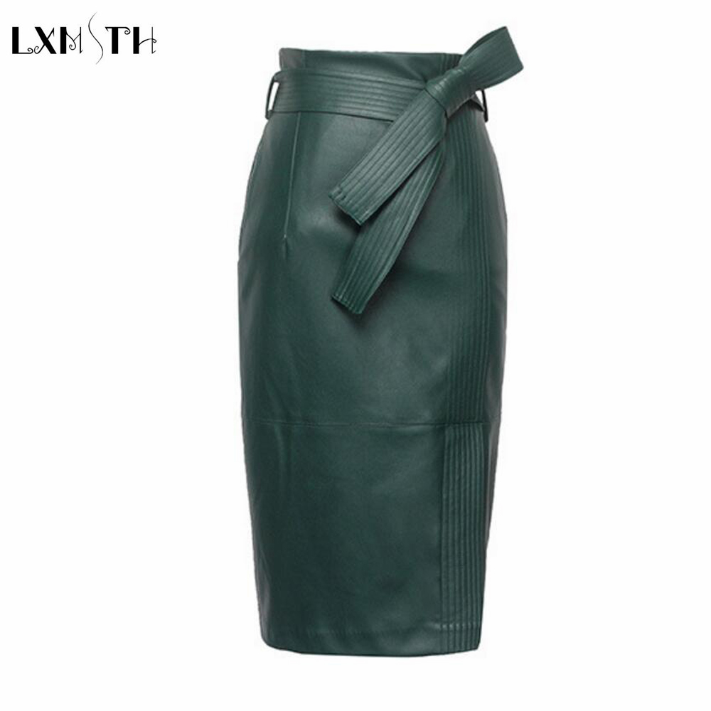3XL 4XL PU leather Skirt Women Plus Size Autumn Winter  High Waist Faux leather Skirts Womens Belted Fashion Pencil Skirt