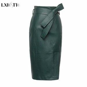 Image 1 - 3XL 4XL Pu Lederen Rok Vrouwen Plus Size Herfst Winter Sexy Hoge Taille Faux Leather Rokken Womens Belted Mode Potlood rok
