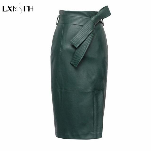 3XL 4XL Pu Lederen Rok Vrouwen Plus Size Herfst Winter Sexy Hoge Taille Faux Leather Rokken Womens Belted Mode Potlood rok