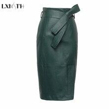 3XL 4XL עור מפוצל חצאית נשים בתוספת גודל סתיו החורף סקסי גבוהה מותן פו עור חצאיות נשים חגורות אופנה עיפרון חצאית
