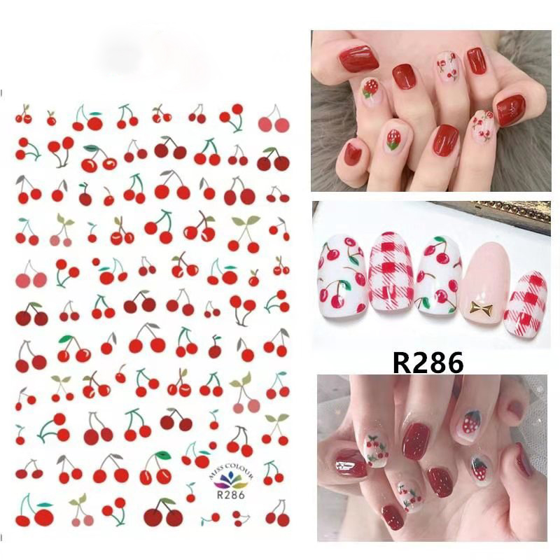 1 Sheet Mix Fruits Nail Water Sticker Cherry Lemon Slider Nail Art Transfer Decal Colorful Charm Decoration