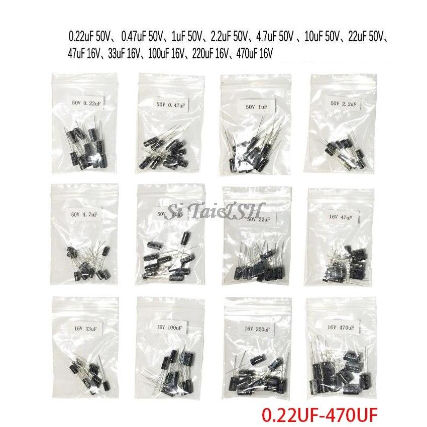 12valuesX10pcs=120pcs 0.22UF-470UF Aluminum Electrolytic Capacitor  Component Diy Assortment Kit New And Original