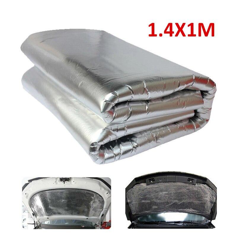 1.4x1M Car Hood Engine Cover Heat Shield Mat 5mm Adhesive Aluminum Noise Damping Pad Sound Deadener Sheet For Truck Bus SUV