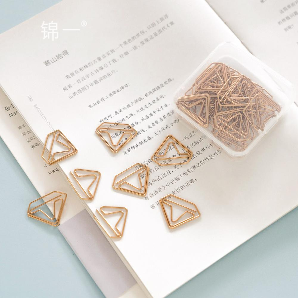 TUTU Kawaii Diamond 24Pcs/BOX Metal Material Rose Gold Paper Clip For Book Stationery School Office Supplies Stationery H0395