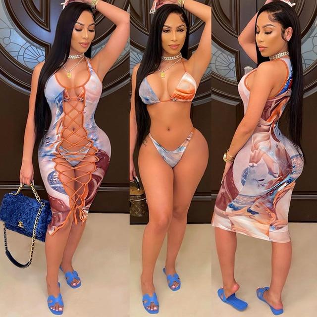 2021 Fashion Bikini Set And Matching Cover Dress Womens Sleeveless Hollow Out Laced Beach Dress 3 Pieces Outfits Beachwear S-XL 1