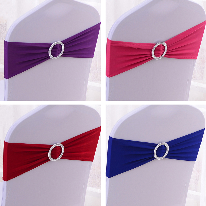50pcs Wedding Chair Elastic Sashes Spandex Chair Band Bow With Buckle For Weddings Event Party Accessories Chair Sash Tie