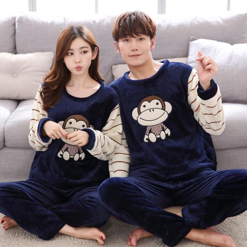 Couple Pajamas Unisex Adult Winter Men Pajamas Set Warm Flannel Thickening Home Wear 2 Pieces Animal Cartoon Female Sleepwear