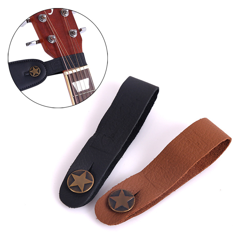 Guitar Neck Strap Guitar Strap Leather Head Belt Holder Button Safe Lock Ukulele Bass Folk Acoustic Electric Guitar Accessories