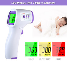 Handheld Non-contact IR Infrared Temperature Meter Digital Infrared Forehead LCD IR temperature Gun with Fever Alarm(China)