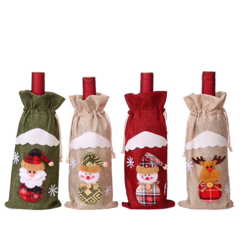 Christmas Decorations Linen Santa Claus Red Wine Bottle Set Decorative Winery Hotel Champagne Cap New Year Gift Bag