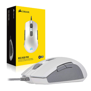 Мышь игровая CORSAIR M55 RGB Pro проводная для обеих рук, с несколькими ручками, 12400 DPI Регулируемый датчик, 8 программируемых кнопок, Черная