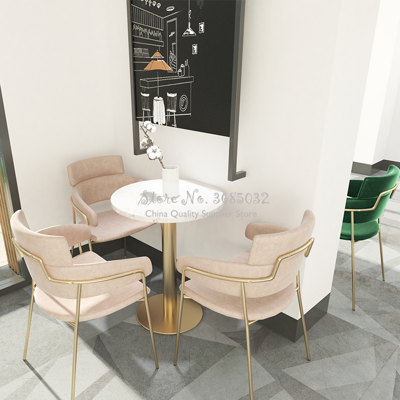Customizable Nordic Coffee Chair And Small Table Sets Home Dining Chair Hotel Leisure Sofa Gold Iron Stool