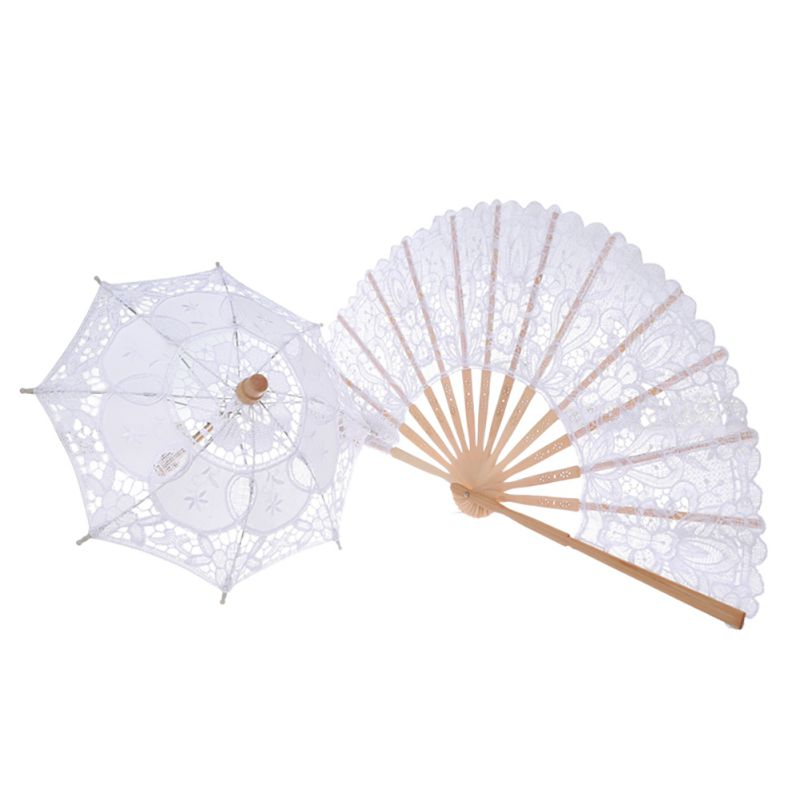 Wedding Bridal Umbrella Fan Sun Handmade Lace Parasol And Fan Set Party Ornaments For Handmade Vintage Party Decoration