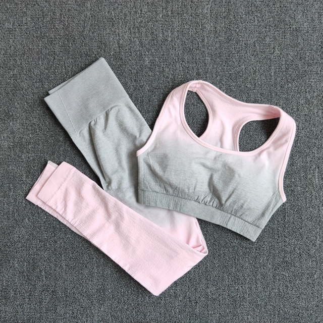 Ombre Yoga Set Sports Bra and Leggings Women Gym Set Clothes Seamless Workout Fitness Sportswear Fitness Sports Suit Sportswear Sports & Outdoors