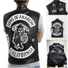 Sons of anarquia bordado couro punk rock, traje de cosplay na cor preta, sem mangas, motocicleta