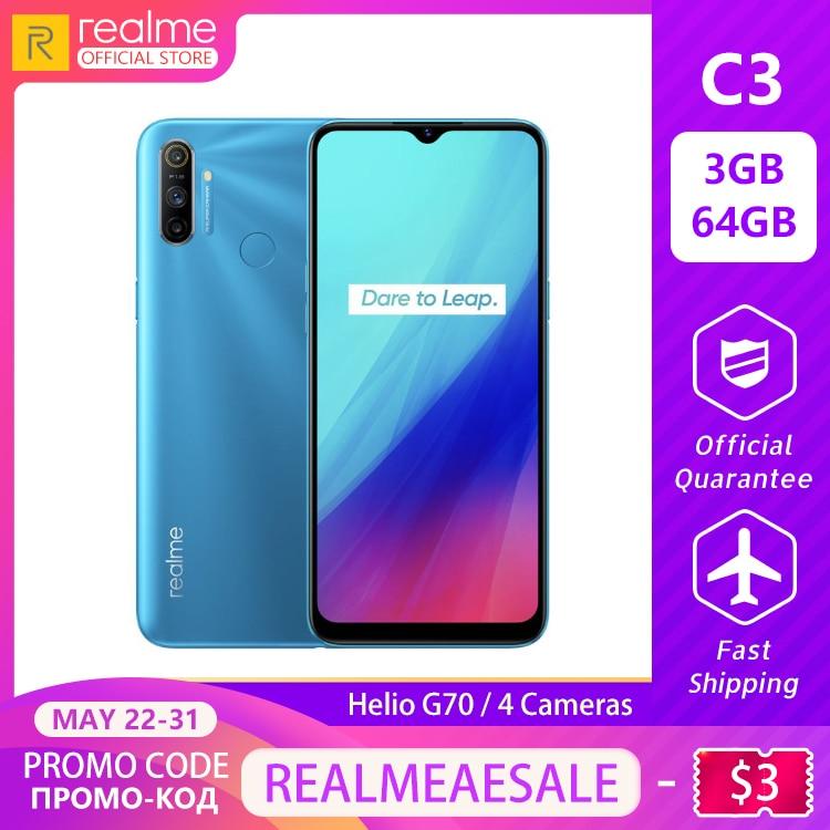Realme C3 Mobile Phone 5000mAh Battery 3GB RAM 64GB ROM Helio G70 Processor 12MP AI Dual Camera HD Mini-drop Fullscreen