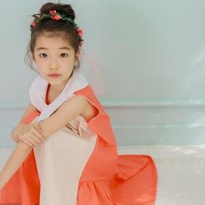 Image 4 - שמלות ילדים חדשות בנות שני צבעים טלאים ילדי קיץ שמלת 2020 כותנה תינוק נסיכת שמלה קיצית פעוטות, #5070