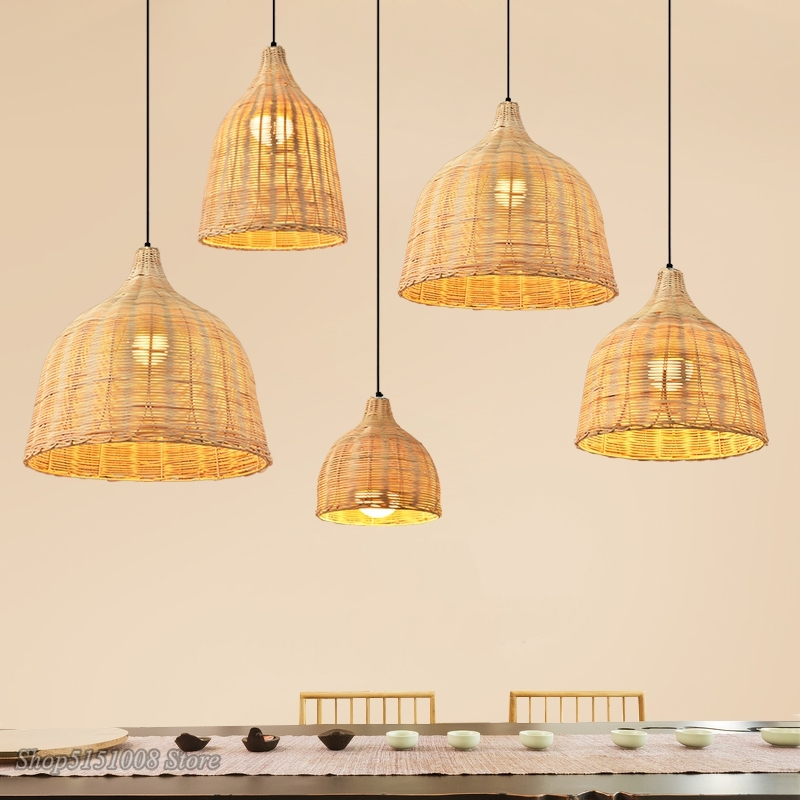 New Chinese Handmade Rattan Weaving Pendant Lights Dinning Room Cafe Hanging Lamps Home Decor Bamboo Led Rattan Lamp Luminaria