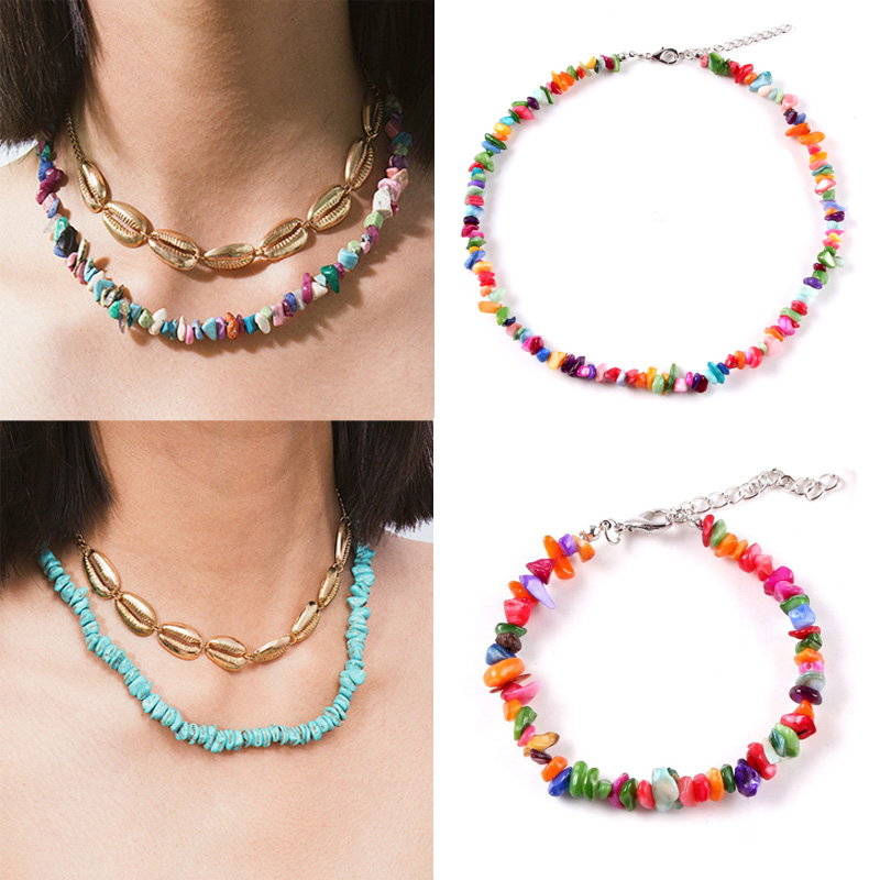 WGOUD-Bracelet en pierres naturelles de style bohème, collier ras du cou, perles, bijoux de mariée irréguliers faits à la main pour dames, cadeau de fête