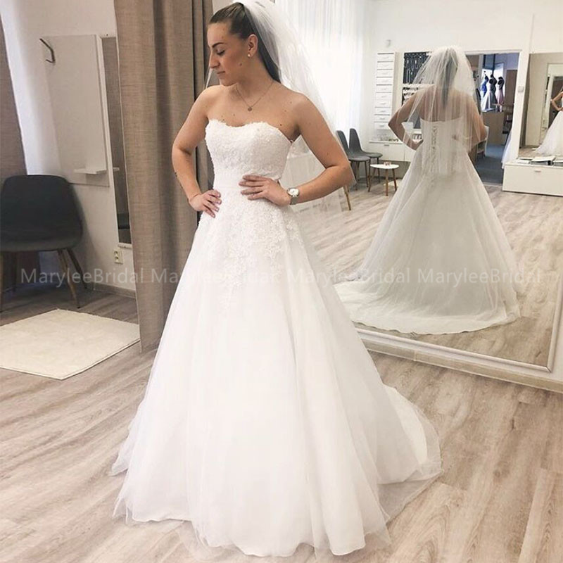 Strapless A-line Wedding Dresses Appliques Sweep Train Vestido De Noiva Bridal Dress Made To Measure Lace Up Back Wedding Gowns