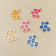 10pcs DIY Enamel Honeycomb Charm For Jewelry Making And Crafting Fashion Charms Earring Necklace Pendant 16x20mm Handmade Gifts 10pcs cute enamel strawberry charms pendants for jewelry making earring bracelet necklace fashion fruit charm diy accessories