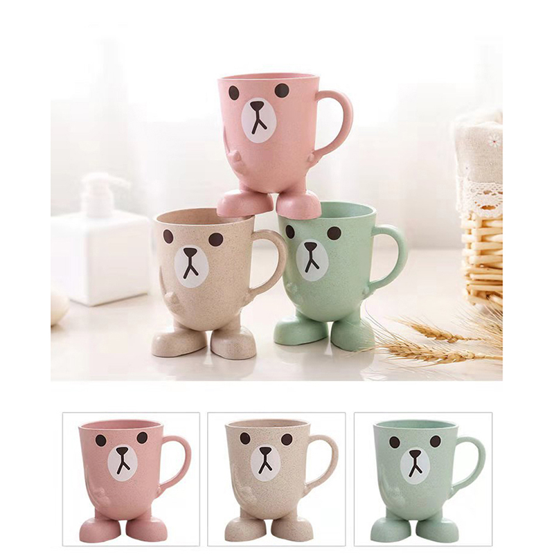 Baby Cute Cartoon Toothbrush Cup Infant Kids Learn Drink Feeding Bottles Children Anti-falling Water Training Cups