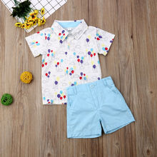 New Floral Baby Boy Gentleman Outfits Suit Short Sleeve Toddler Bow Tie Shirt Tops+Red Shorts Summer Set Kids Clothes 1-6T