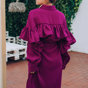 Image 4 - LANMREM Rose Red Lapel Long Sleeve Ruffled Waistband Single breasted Loose Plus Woman Dress Casual Fashion 2020 autumn New TV534