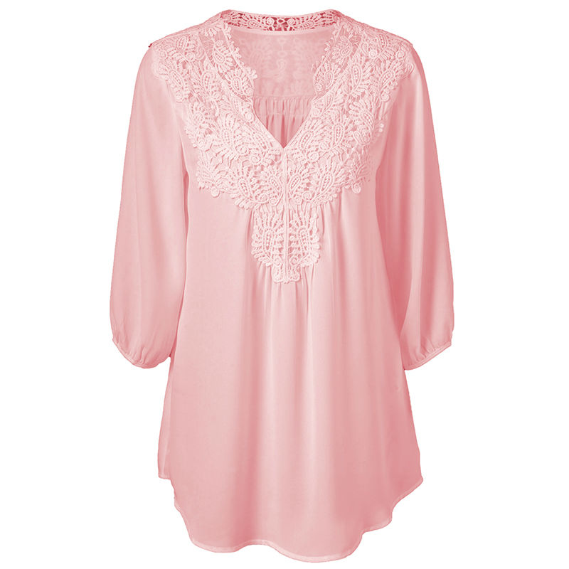 European and American Best Selling V-neck Loose Women's Lace Stitching Large Size Shirt/T-shirt image