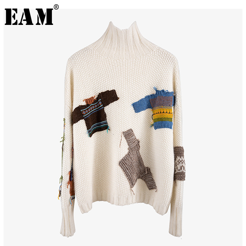 [EAM] Pattern Split Knitting Sweater Loose Fit High Collar Long Sleeve Women Pullovers New Fashion Tide Spring Autumn 2020 1K051