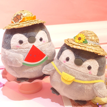 27CM Cartoon Animals Penguin Plush Toy Stuffed Summer Series Dolls with Hat Bag and Watermelon Decor Kawaii Mini Gifts