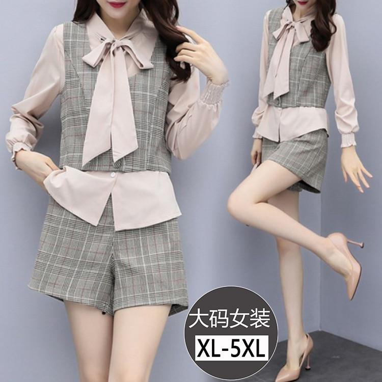 Large Size Dress Long Sleeve Bow Shirt Plaid Vest Waistcoat Tops Women's Loose Pants Three-piece Set Early Autumn New Style