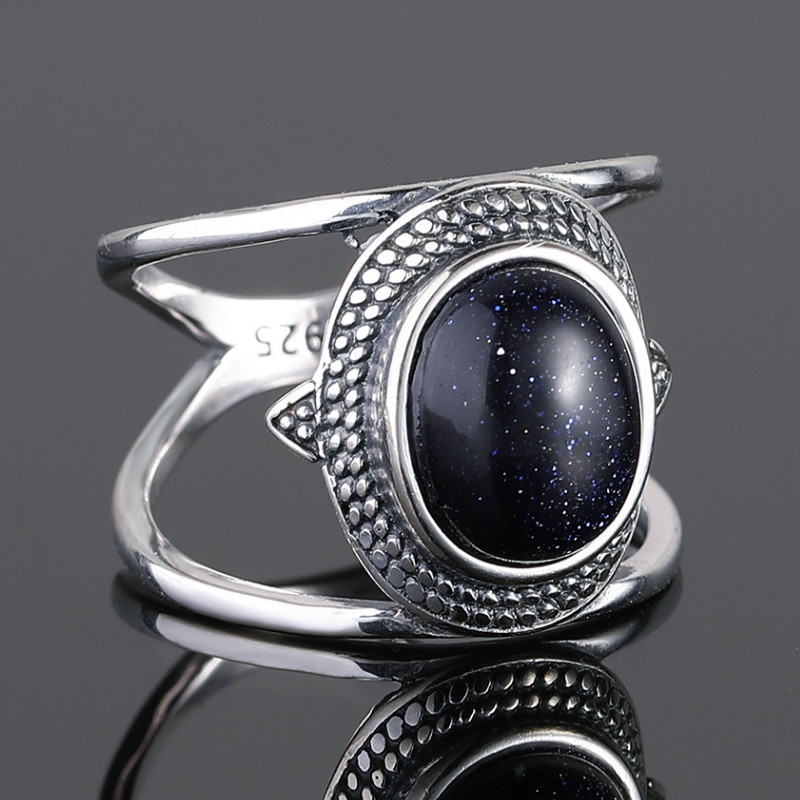 Nasiya Luxury Oval Blue Sandstone Rings For Women 925 Sterling Silver Ring Jewelry Finger Ring Gemstone Rings Party Gift