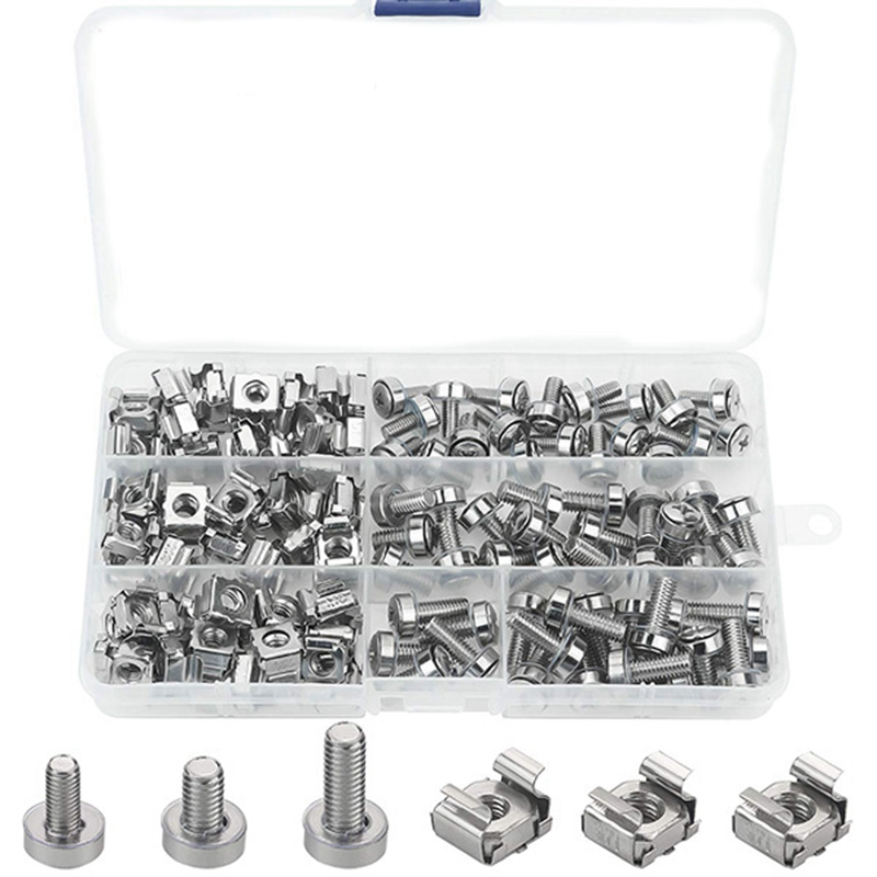 Cage Nuts Andscrews,60Set Square Hole Hardware Cage Nuts & Mounting Screws Washers for Server Rack Andcabinet (M5 X 16Mm, M6 X 1