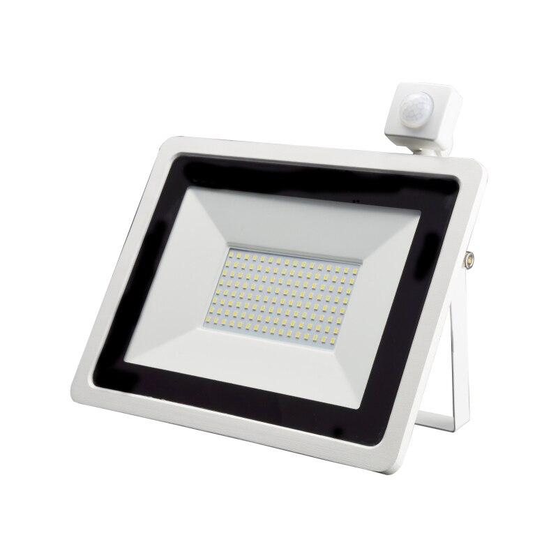 LED PIR Motion Sensor Floodlight 10W 20W 30W 50W 100W Waterproof White Reflector Outdoor Spotlight For Garden Wall Street Light