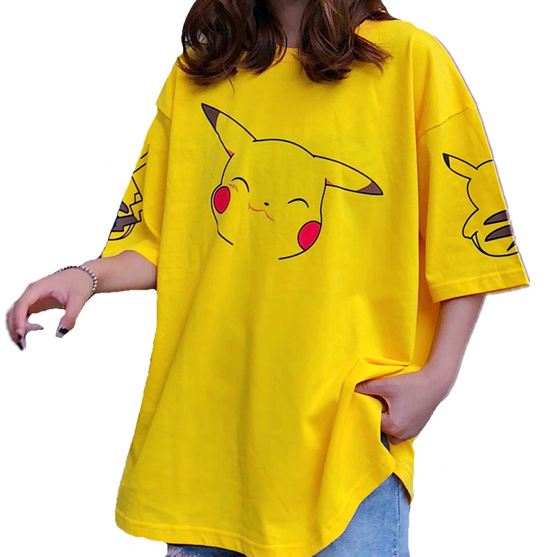Neue Pokemon Cartoon-Muster T Shirts Frauen Kawaii Pikachu Print Sommer Lose Top Mädchen Street Fashion Hip Hop Lange Tees plus 2XL