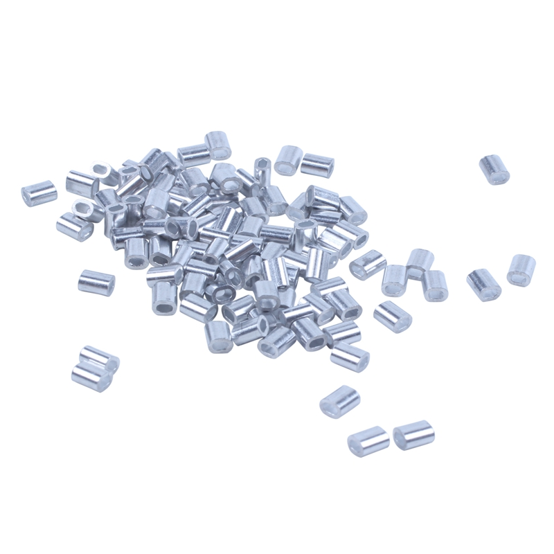 100 Pcs <font><b>1mm</b></font> Steel Wire Rope Aluminum Ferrules Sleeves Silver Tone image