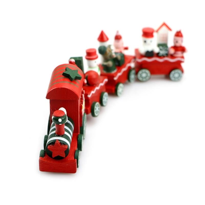 Charming Cute 4 Piece Wooden Christmas Santa Tree Train Ornament Decor Gift New Y4QA